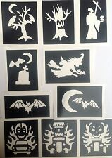 10 x stencils Halloween spooky car,top up your glitter tattoo kit face painting