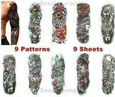 Full Arm Leg Sleeve Large Temporary Waterproof Tattoo Fake Art Stickers 9 Sheets