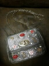 BRITISH UK ENGLAND Flag Handbag Bag Crossbody Purse Bling Faux Leather Silver