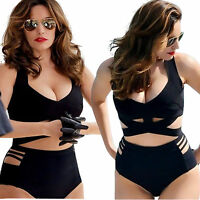 New Padded High Waist Bikini Set Monokini Badeanzug Swimwear Swimsuit Plus Size