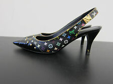 Louis Vuitton Pumps Murakami schwarz D39 UK6 sling slingbacks black studs ID4469