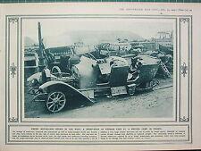 1915 WWI WW1 PRINT ~ ENEMY MOTOR-CARS SCRAP-HEAP GERMAN CARS BRITISH CAMP FRANCE