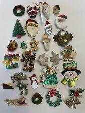28 Pc. Christmas Brooch Pin Lot Santa Snowman Moose Angels Dove Tree