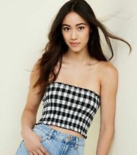 8284330d5f4 NEW LADIES NEW LOOK White Gingham Pattern Shirred Bandeau UK SIZE 16 Free  P P