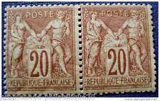FRANCE timbre-sage typeI-yt n°67 x2 n**(dent courte pliure point rouille)1876/78