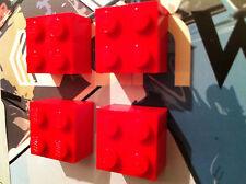 LegoMOnki 4 Retro Kitsch Fridge Magnets Red made using LEGO®