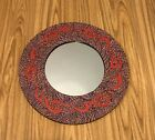 """NEW 16"""" BALI DOT MIRROR PINK, GOLD, OLIVE DOTS WITH BRICK-COLORED FLAMES"""
