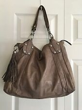 B. Makowsky Taupe Leather Large Hobo Shoulder Bag Purse Silver Hardware Tassel