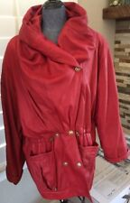EUC LINEA PELLE RED LEATHER JACKET BUTTER SOFT Awesome Lining M/L 1980s? 1990s?