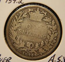 1874 ONE 1 SHILLING GREAT BRITAIN .925 STERLING SILVER  KM#734.2  VICTORIA