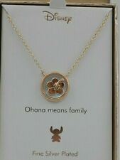 """Disney Lilo and Stitch Mother-of-Pearl Pendant Necklace in Rose Gold-Plate, 16"""""""