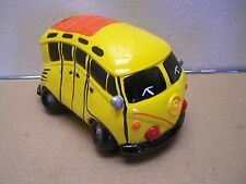 Plaster Piggy Bank Old VW Bus, Yellow - Mexico