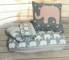 Lush Decor Elephant Striped Quilt Reversible 4 Piece Kids Bedding Set, Full
