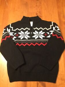 Gymboree Boys Black FairIsle Quarter Zip Sweater Small (5-6)