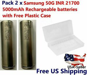 2x Samsung INR21700-50G 9.8A 5000mAh Rechargeable High Drain Battery free Case!