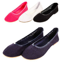 Womens Lace Ballet Flats Mesh Crochet Slip On Casual Shoes Loafer Ballerina New