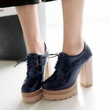 Euro Women's Patent Leather Block Heels High Platform Lace Up Brogues Pumps Size
