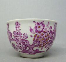 (G4826)  Barocke Meissen Tasse, Indische Blumen in purpur, Gebrochener Stab 1750