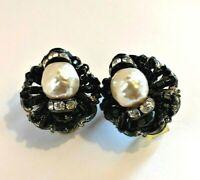 """Vintage Hobe Clip Earrings White Peal Clear Rhinestones Black Bead 1"""" Round"""
