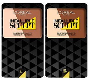L'oreal INFALLIBLE SCULPT PALETTE Contouring Powder / Bronzer & Highlighter Duo!