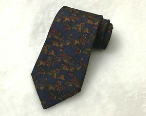 Vintage Salvatore Ferragamo Necktie Blue Men In Horse 100% Silk Tie RARE!