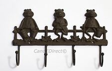 Cast Iron Decorative Frog Froggy Design Coat Hook Set Home Shed Hooks NEW