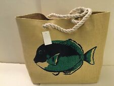 Beach Straw tote bag lined beige Fish rope handles pocket Snap close New Tags
