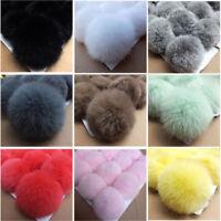 5pcs Fake Rabbit Fur Soft Ball Pompom Keychain For Women Bag Fluffy Key Pendant