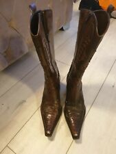 Womens Moda In Pelle Brpwn Leather Cowboy Boots. UK 4. Used.