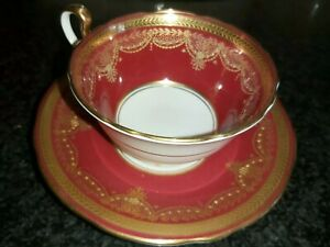 Aynsley china Antique Red & gold jewelled teacup & saucer ornate handpaintedY321
