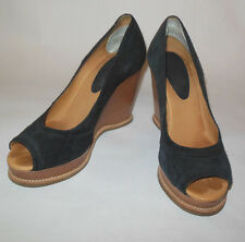 KORS BY MICHAEL KORS WOMENS SHOE BLACK SUEDE OPEN TOE WOODEN WEDGE HEEL SIZE 7M