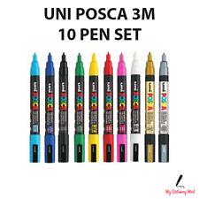 UNI POSCA MARKER PEN PC-3M 10 Pen Set Paint Marker Poster 10 Colours