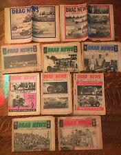 LOT-10 ~DRAG NEWS~NEWSPAPERS~Vintage 1965 (8) 1963 (1 ), 1964(1)