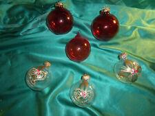 ~ alter Christbaumschmuck 6 Weihnachtskugeln Glas rot transparent gold Blumen ~