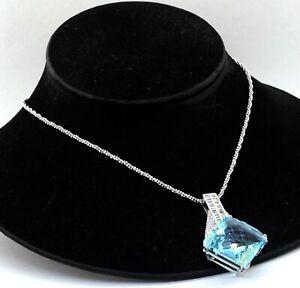 Heavy 18K white gold 79.07 VS diamond & 25 x 25mm jumbo topaz pendant necklace