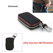 Car Key Chain Genuine Leather Holder Zippe Case Remote Wallet AMG Smooth Surface