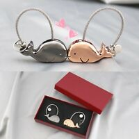 Couple Cute Whale Model Key Ring Decor Metal Keychain Christmas Gift for Lover