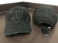 New Dsquared Distressed All Black Special ICON Baseball Cap Dsquared2 UK Seller