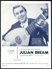 1960 Julian Bream photo lute guitar recital tour booking trade print ad