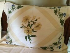 2 Yellow Gingham and Lily Standard Pillow Shams Quilted. Shabby-Chic style