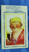Vintage Bamforth Seaside Comic Postcard 1936 Woman With Class Of Guinness Stout