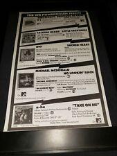 A-Ha/Dio/Talking Heads/Dire Straits Rare Original Radio Promo Poster Ad Framed