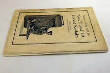Kodak No 1 and 1A Pocket Photo Camera Guide Manual Folding bellows En