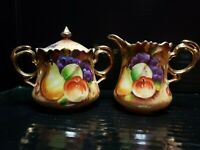 Vintage Lefton Brown Heritage Fruit Creamer & Sugar Bowl NE20592