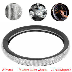 Car Steering Wheel Cover Leather Stering Bling Diamond Wheel Cover Universal Fit