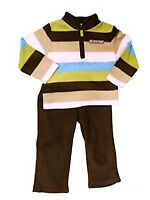"""CARTER'S BABY BOY 2PC """"Little Man"""" STRIPED ZIP TOP WITH BROWN PANT SIZE: 3M NWT"""