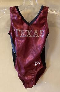 "Child Medium GK ELITE Blue ""Texas"" Rhinestone Foil Gymnastics Leotard EUC"