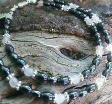 Rose Quartz And Hematite Bracelet And Necklace Set. Bespoke. Gemstones.