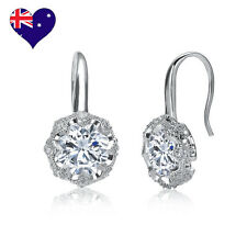 Decó White Gold Cubic Zirconia Drop/Dangle Earrings Wedding-Gift-Jewellery