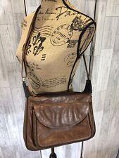 Gigi Brown Leather Shoulder Messenger Bag With 2 Compartments & Outside Pocket